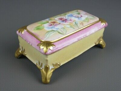 Vintage Box Porcelain Painted With Skis Golden Xx Century