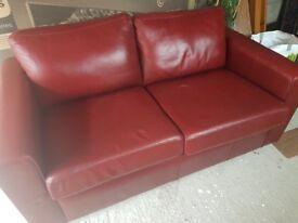 Maroon Faux Leather Sofa