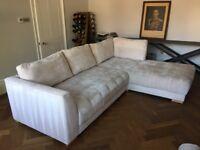 Large / Huge Cargo Sofa Corner L-Shaped Beige Chenille Fabric Super Comfy