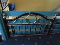 Black and brass effect Double Headboard