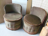 Vintage Sherborne bedroom tub chair X2 buttoned velour