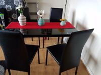 Dinning table x4 chairs and 2x side displays and 1 side table