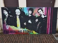 WOW HUGE 1990S PAINTED PICTURE OF THE ROLLING STONES EX NORTHERN NIGHTCLUB FAB MANCAVE DECOR DISPLAY