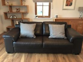 Lovely modern brown leather sofa with 2 chairs