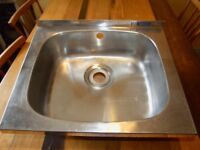 Single stainless steel sink, 485 x 390mm.