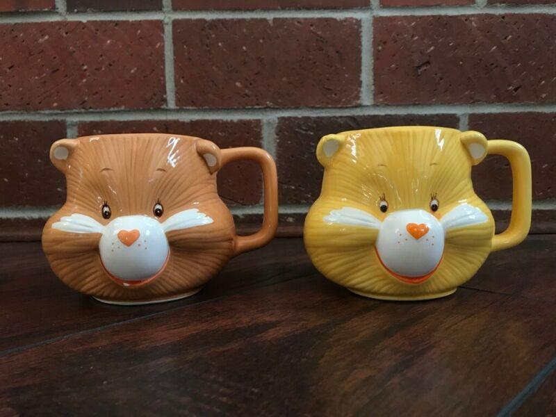 Vintage 1984 Care Bears FRIEND BEAR & FUNSHINE BEAR Ceramic 3D Mug Cup Set