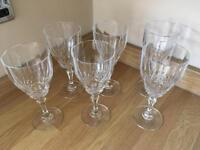 6 x Crystal cut red wine glasses