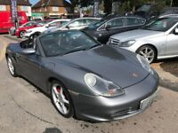"2004/04 PORSCHE BOXSTER 3.2S METALLIC GREY/BLACK LEATHER,18"" UPGRADED ALLOYS,SERVICE HISTORY"