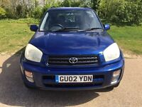Toyota RAV 4 Fuel type Petrol Engine size (l) 1998 Body type Estate Mileage 125000 Year of 2002