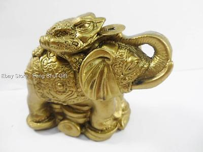 Chinese Oriental Brass Tone Feng Shui Elephant Money Coin Frog Toad Wealth #B
