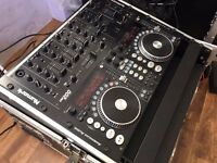 Full DJ Console including 5 channel mixer, dual CD/MP3 player with scratch and 1000w Amp