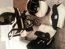 Cream and black (REDUCED) travel system