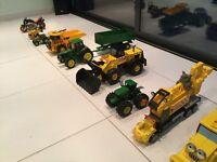 Toy tractors, dump truck, crane, diggers, motor bike - bundle.