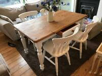 Farmhouse shabby chic table and four chairs
