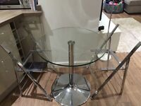 Martin & Frost glass/chrome bistro dining set