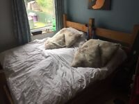 Pine hand made 2x single mattress bed