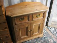 MODERN ORNATE SOLID PINE SHAPED SIDEBOARD. VIEWING / DELIVERY AVAILABLE