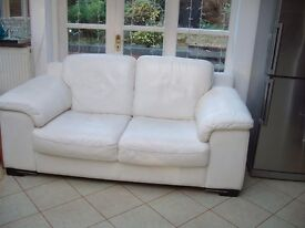IVORY LEATHER SOFA, TWO SEATER