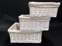 Set of 3 Wicker Storage Baskets - Good condition