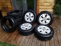Set of genuine VW T5 Alloys with tyres and additional set of snow tyres.