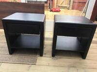 Faux leather bedside table drawer set of 2 dark brown
