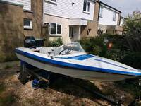 fleacther speed boatwith a Yamaha 30hp autolube outboard