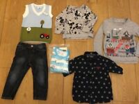 6 X BOYS 18-24 2-3 YEARS POWELL CRAFT KNITTED ,DINASOUR PJS ,MICKEYMOUSE, NEXT