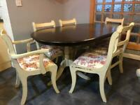 Dark wood/ vintage Rustic extendable Dining table and chairs