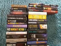 Selection of hardback books.