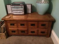 Oak coffee table and tv cabinet both in good condition both part of a set.