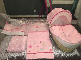 My little world pink Moses basket and white stand also matching cot bed bedding