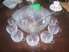 Large Punch Bowl & 12 Glasses with Ladle