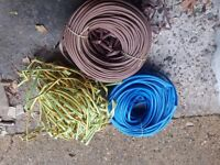 +++ new 10mm diameter cable over sleeving blue, brown & green/yellow cable insulation ++++