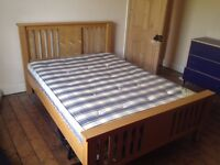 Double bed wooden frame and mattress £90 call 07543398434
