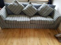 BLUE CHECKED KING SIZE SOFA BED