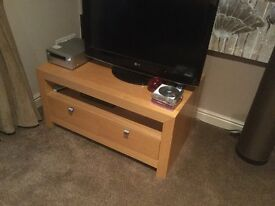 TV Unit with 2 drawers light oak veneer excellent condition