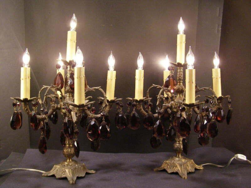 2 Antique Bronze Cut Purple Glass Crystal Prism Girandole Mantle Candelabra Lamp