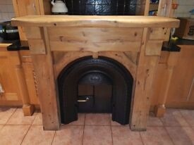 Mexican pine cast iron fire place