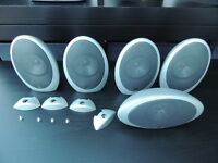 5 x KEF EGG HTS-1001 Silver Surround Sound Speakers with stands KHT 1005