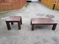 2 Solid Dark Wood Coffee/Side Tables FREE DELIVERY 122