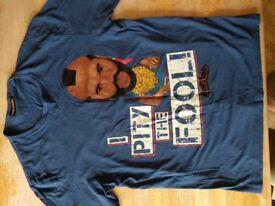 """Mr T """"I Pity The Fool"""" Shrunkies Blue Small T-Shirt"""