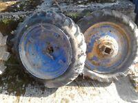 A pair of rims for a Gunsmith or BMB Ploughmate garden tractor.