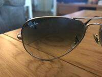 Real Silver Framed Light Blue Tinted Aviator Style Ray Bans.