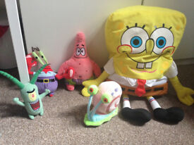 Fisher Price Sponge Bob,Patrick, Gary, Mr Krusty Crab, Plankton Plush Soft Toy