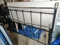 Double Black & Chrome Metal Bed Frame
