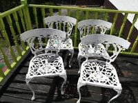 4 x Ornate Wrought Iron Garden Chairs
