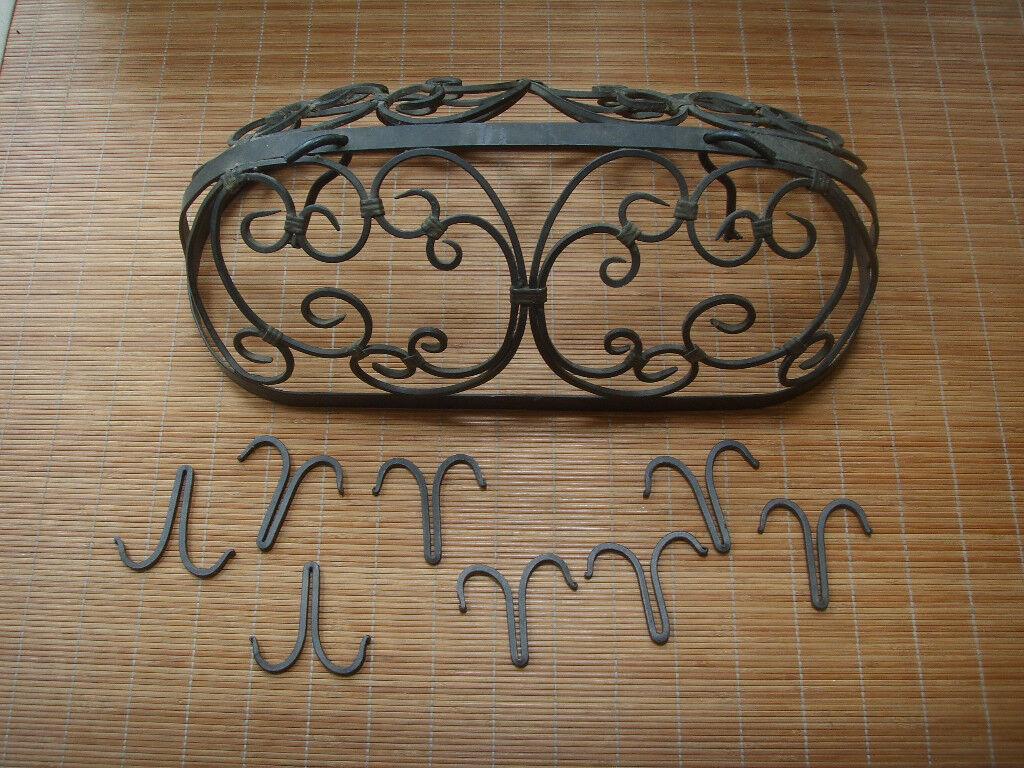 cast metal hanging pot holder frame with 8 hooks