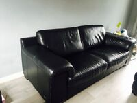 Violino large 2 seater leather sofa 1 chair and footstool