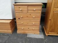 Pine wood 2 over 4 chest of drawers £70