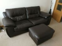 3 & 2 Seater Leather Sofa Suite - Chocolate Brown